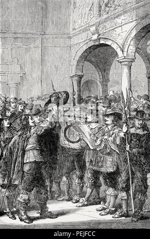 Charles II, king of England, declares war on the Netherlands on 4 March 1665, From British Battles on Land and Sea, by James Grant - Stock Photo