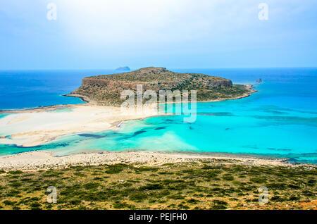 Paradise beach balos - View over Balos Lagoon, island on Crete, Greece - Stock Photo