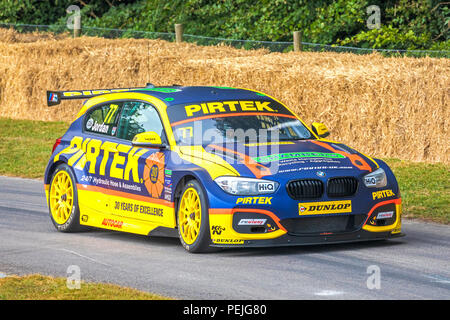 2018 West Surrey Racing BMW 125i M Sport BTCC entrant with driver Andrew Jordan at the 2018 Goodwood Festival of Speed, Sussex, UK.