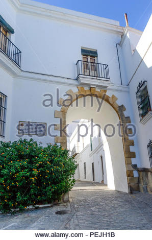 Typical street in Vejer de la Frontera, pueblo blanco, Cadiz, Andalusia, Spain - Stock Photo
