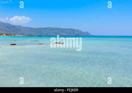 Paradise beach with turquoise water, in Elafonisi, Crete, Greece - Travel destination in Europe - Stock Photo