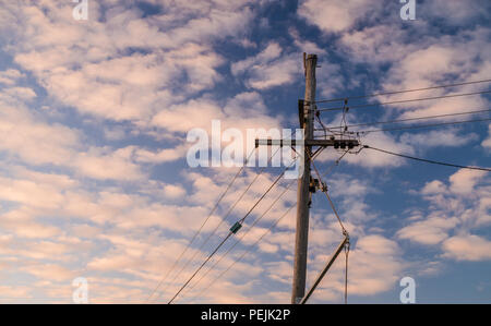 Wooden power pole with clouds during sunset in Perth, Western Australia, Oceania - Stock Photo