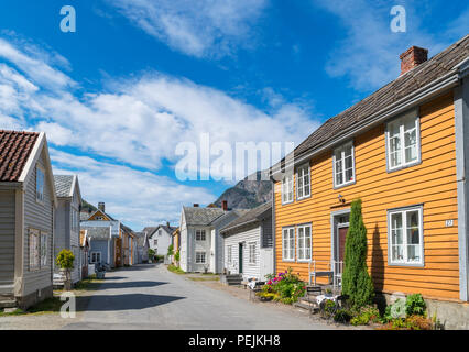 Traditional wooden houses in Lærdal (Lærdalsøyri), Sogn og Fjordane, Norway - Stock Photo
