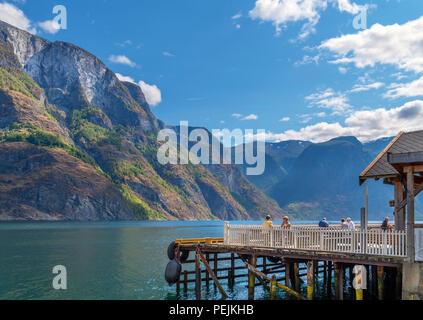 Waterfront cafe / bar in Undredal, Aurlandsfjord, Sognefjord, Sogn og Fjordane, Norway - Stock Photo