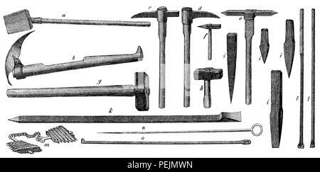 Tool , ' Gezäh ' , of the miner A) fishing bucket or mud bucket , B ) scaper, c , d, e ) wedge hoes f) iron; g) Treibefäustel h) Schlegel i) wedges and Fimmel , k ) Schrämspieß; l ) drill , m ) iron wedges , n ) broach o) scratches; d; des Bergmanns. A) Fangschaufel oder Schlammschaufel  b) Kratze  c, - Stock Photo