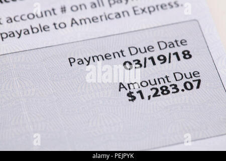 American Express credit card monthly statement - USA - Stock Photo