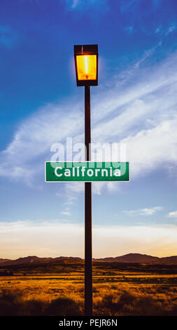 Retro Filtered Image Of A California Sign In The Mojave Desert At Dusk - Stock Photo