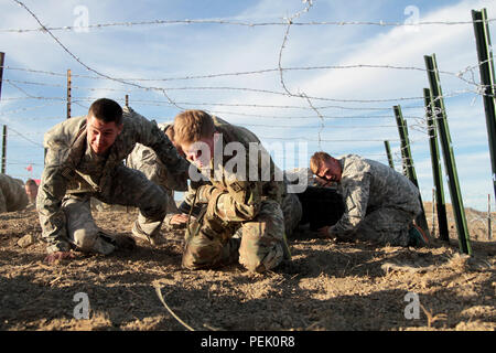 """Soldiers of the 1st Stryker Brigade Combat Team, 4th Infantry Division, pull a Medium Tactical Vehicle tire through an obstacle during the brigade's annual physical training event """"Operation Smoked Turkey,' Nov. 24, 2015.  """"The bottom line is you stay unified as a team.  You start as a team and you finish as a team,"""" said 1st Sgt. David Briseno, Charlie Company, 2nd Battalion, 23rd Infantry Regiment, 1st SBCT, 4th Inf. Div. - Stock Photo"""
