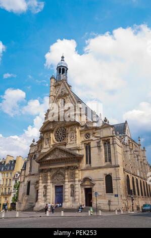 Eglise Saint-Etienne-du-Mont, Place de Sainte Genevieve, Paris, France - Stock Photo