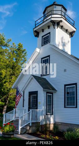 Old Mission Point Lighthouse near Traverse City, MI, USA. - Stock Photo