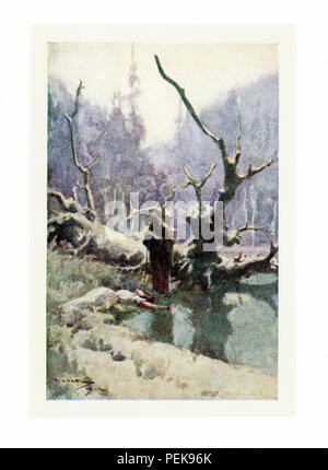 This illustration dates to the early 1900s and shows a witch and a lady in the woods. The scene is from Nathaniel Hawthorne's Twice-Told Tales and the tale is The Hollow of the Three Hills. The caption reads: When the old woman stirred the kneeling lady she lifted not her head. 'Here has been a sweet hour's spot,' said the withered crone, chuckling to herself. - Stock Photo