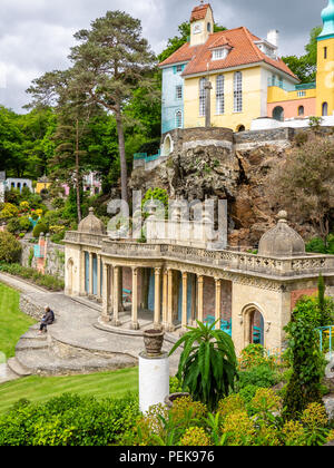 Portmeirion Village, North Wales, United Kingdom. Italianate village created by Clough Williams-Ellis,Gwynedd, North Wales. - Stock Photo