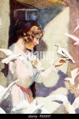 This illustration dates to the early 1900s and shows Hilda with doves, The tale of Hilda is found in Nathaniel Hawthorne's The Marble Faun, also known as The Romance of Monte Beni. The caption reads: They soon became familiar with the fairhaired Saxon girl as if she were a born sister of their brood. - Transformation. Nathaniel Hawthorne (1804-1864) was an American novelist and short story writer. His Wonder-Book and Tanglewood Tales are children's classics. He also wrote The Scarlet Letter, Blithedale Romance, The House of Seven Gables, The Marble Faun. With his superb creation of dark-hued a - Stock Photo