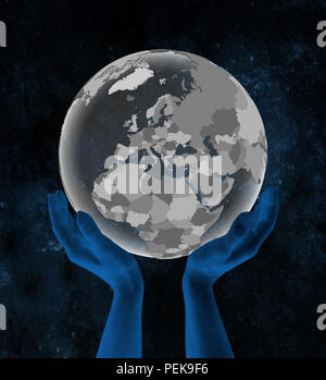 Kosovo With flag on translucent globe in hands in space. 3D illustration. - Stock Photo