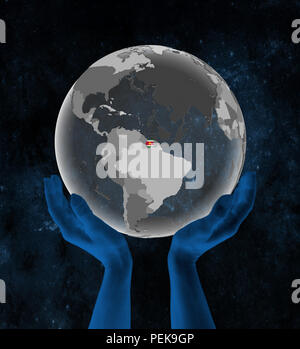 Suriname With flag on translucent globe in hands in space. 3D illustration. - Stock Photo