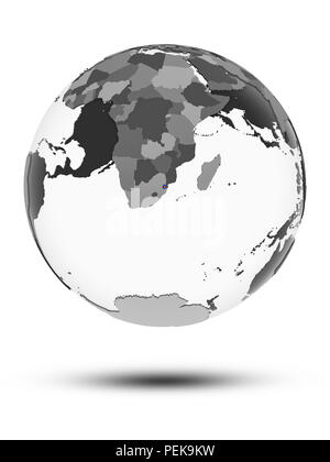 Swaziland with flag on globe with shadow isolated on white background. 3D illustration. - Stock Photo