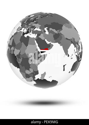 Yemen with flag on globe with shadow isolated on white background. 3D illustration. - Stock Photo