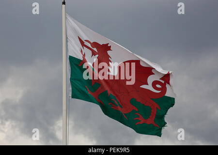 The Welsh flag flying in the heart of North Wales - Stock Photo