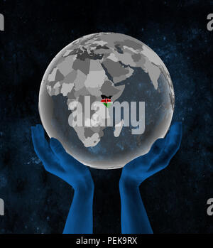 Kenya With flag on translucent globe in hands in space. 3D illustration. - Stock Photo