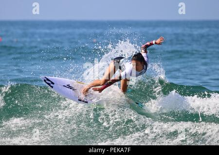 Shino Matsuda competing in the US open of Surfing 2018 - Stock Photo