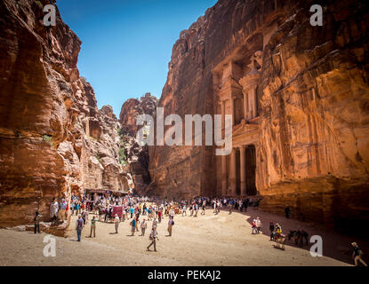 The Treasury Building found in the lost city of Petra , Jordan - Stock Photo