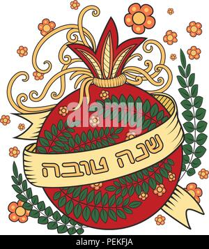 Rosh hashanah - Jewish New Year greeting card design with red pomegranate - holiday symbol. Greeting text in Hebrew have a good year. Hand drawn vector illustration. Isolated on white background - Stock Photo