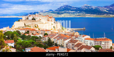 Beautiful Calvi town,view with old castle and sea,Corsica,France. - Stock Photo