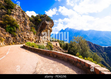 Impressive mountains in Corsica,panoramic view,France - Stock Photo