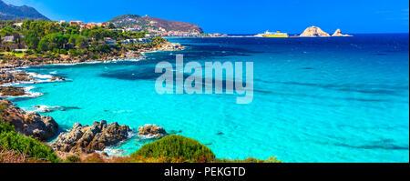 Beautiful beach of Corsica island,Santa Giulia beach,France. - Stock Photo
