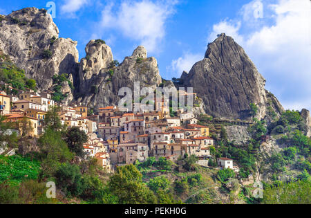 Impressive Castelmezzano village,panoamic view,Basilicata,Italy. - Stock Photo