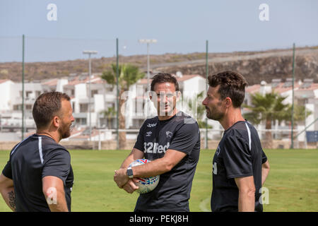 Frank James Lampard, OBE, manager of Derby County Football Club, with Chris Jones, Jody Morris during pre season training in Tenerife - Stock Photo