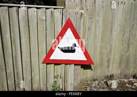 Beware ducks road sign in Loose Village, Maidstone, Kent, UK. - Stock Photo