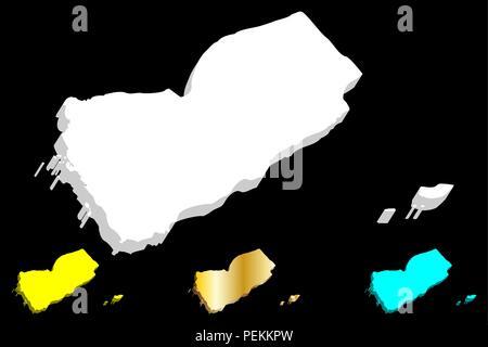 3D map of Yemen (Republic of Yemen) -  white, yellow, blue and gold - vector illustration - Stock Photo