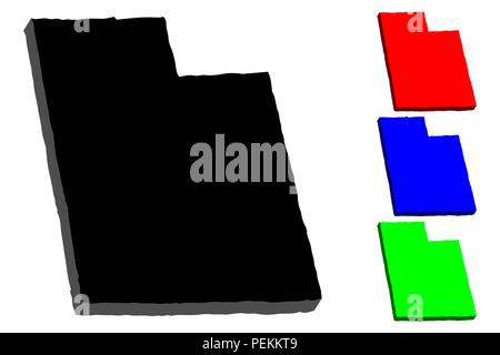 3D map of Utah (United States of America) - black, red, blue and green - vector illustration - Stock Photo