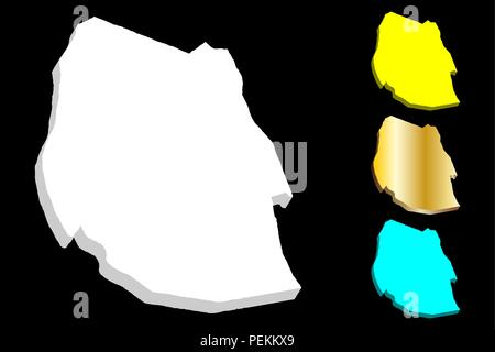 3D map of Swaziland (Kingdom of Eswatini) - white, yellow, blue and gold - vector illustration - Stock Photo