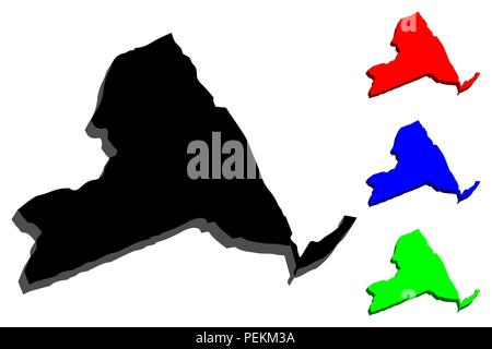 3D map of New York (United States of America, The Empire State) - black, red, blue and green - vector illustration - Stock Photo
