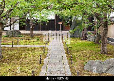 Kyoto, Japan. The entrance to Obai-in zen temple at Daitoku-ji - Stock Photo