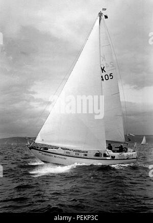 AJAXNETPHOTO. 7TH JULY,1974. PLYMOUTH,ENGLAND - ROUND BRITAIN RACE - YACHT  CHERRY BLOSSOM AT START; SKIPPER CLARE FRANCIS (GBR) PHOTO : JONATHAN EASTLAND/AJAX