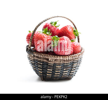 Fresh  strawberries in small basket isolated on white - Stock Photo