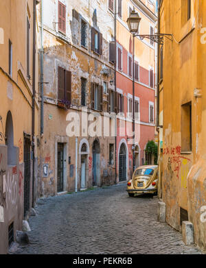 The picturesque Rione Trastevere on a summer morning, in Rome, Italy. - Stock Photo