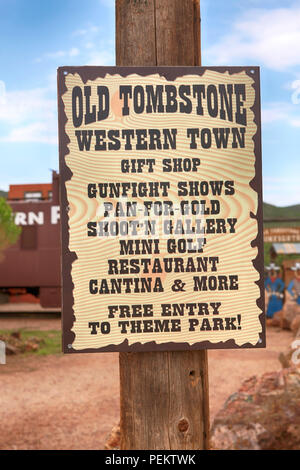 Old Tombstone Wild West Theme Park signpost on E Toughnut St in historic  Tombstone, Arizona - Stock Photo