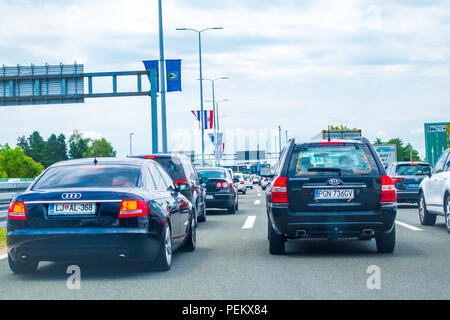 Highway A1 near Zagreb, Croatia, July 1 2018: Highway toll station Lucko in Zagreb, Croatia during holiday season is reason for long congestions on ma - Stock Photo