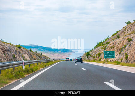 Highway A1 vicinity of Zadar, Croatia, July 1 2018: A1 Highway in Croatia from Zagreb to Split and Adriatic sea is one of the busiest highways during  - Stock Photo