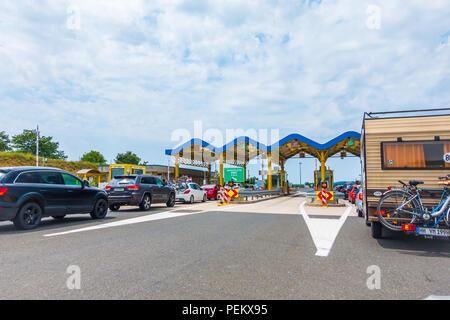 Highway A1 vicinity of Zadar, Croatia, July 1 2018: Waiting line on highway toll station Maslenica near Zadar, Croatia - Stock Photo