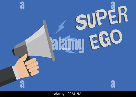 Word writing text Super Ego. Business concept for The I or self of any person that is empowering his whole soul Man holding megaphone loudspeaker blue - Stock Photo