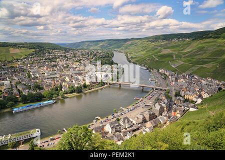german town bernkastel-kues in moselle valley - Stock Photo