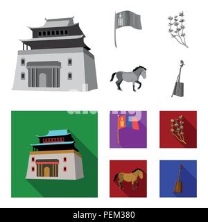National flag, horse, musical instrument, steppe plant. Mongolia set collection icons in monochrome,flat style vector symbol stock illustration . - Stock Photo