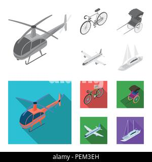 Bicycle, rickshaw, plane, yacht.Transport set collection icons in monochrome,flat style vector symbol stock illustration . - Stock Photo