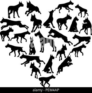 Great Dane Dog Heart Silhouette Concept - Stock Photo