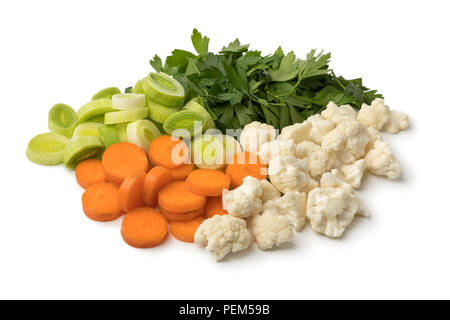 Heap of fresh cut organic vegetables isolated on white background - Stock Photo